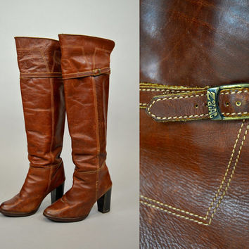 """vtg 70's leather ZODIAC over-the-knee 22"""" tall OTK bohemian BOOTS, size 8.5 39 6"""