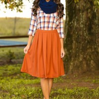 Lean On Me Plaid Blouse-Rust/Navy