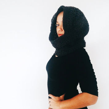 Hood scarf.  Ready to ship hooded cowl, Crochet wool scarf - The wind breaker - Black winter  hooded scarf