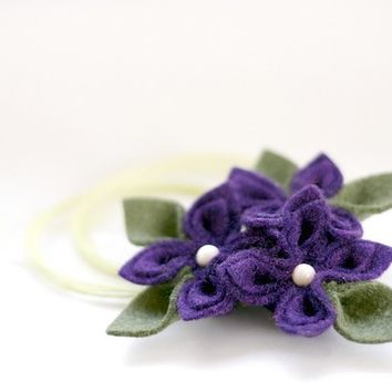 Purple with Olive Felt Flower  Necklace