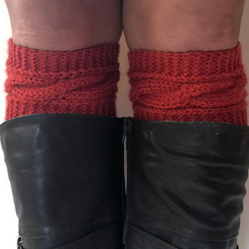 Red Orange Saffron Boot Cuffs Cable Knit Boot Liners Toppers