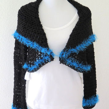 Black crochet shrug, shawl collar cirlce shrug, fine knit sweater, outerwear