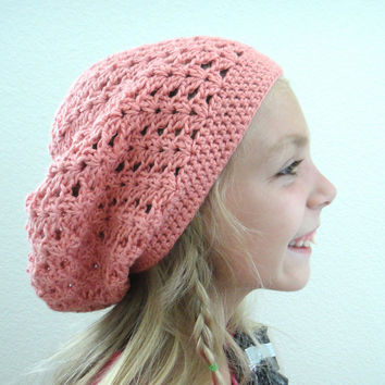 Girls Beret Slouch Hat Salmon Pink