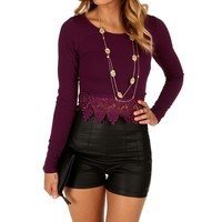 Purple Crochet Trim Crop Top