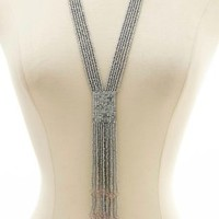 Metallic Seed Bead Fringe Necklace by Charlotte Russe - Silver