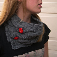 Cable knit Gray Cowl, Cozy  Grey Collar, Cable knit Neck Warmer, Stylish Cowl, Winter 2014, Handmade Chunky Large cowl
