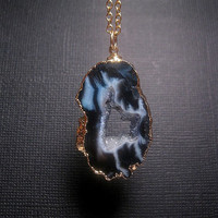 Geode Agate Druzy Slice Necklace Slate Black Lightest Grey And White