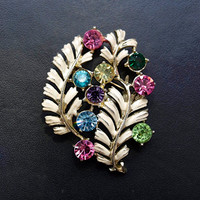 1950's Jewelcraft Brooch - 50's Brooch - 1950's Coloured Rhinestone Pin - Signed Costume Jewellery