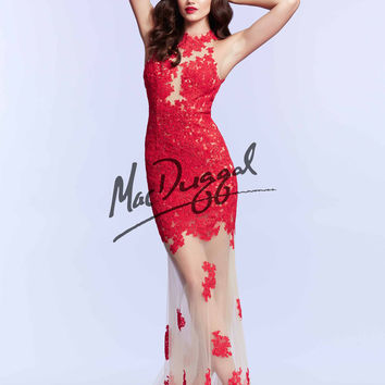 Mac Duggal Beaded Lace Prom Gown 61842M