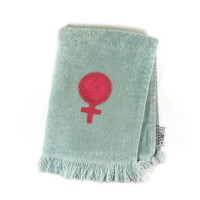 Woman Sign Feminist Decor Hand Towel Feminism Home Bathroom Guest Pink Female Symbol Womens Rights Blue Bottom Fringe Upcycled 115