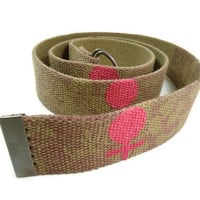 Feminist Belt Female Sign Woman Symbol Brown Feminism Fabric Logo Pink Woven D Ring Closure Powerful Womens Rights Upcycled 133