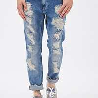 Distressed Light Wash - Slim Fit Jeans Denim Washed