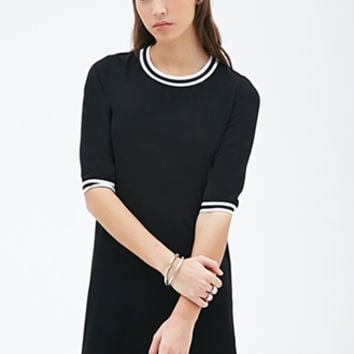 FOREVER 21 Varsity-Striped Ringer Shift Dress Black/White