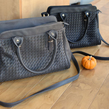 Basketweave Satchel Handbag - Black or Charcoal – H.C.B.