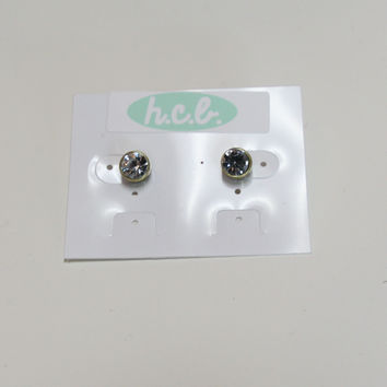 Retro Round Crystal Studs - Crystal/Antiqued Brass – H.C.B.