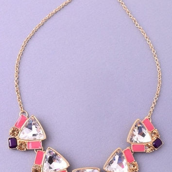 Triangle Gemstone Statement Necklace - Coral/Multi – H.C.B.