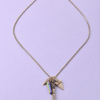 Long Tribal Stone and Shark Tooth Necklace - Antiqued Gold or Antiqued – H.C.B.