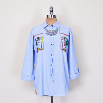 Vintage 80s 90s Southwestern Shirt Southwest Shirt Western Shirt Chambray Shirt Denim Shirt Jean Shirt Oversize Shirt Button Up Shirt S M L
