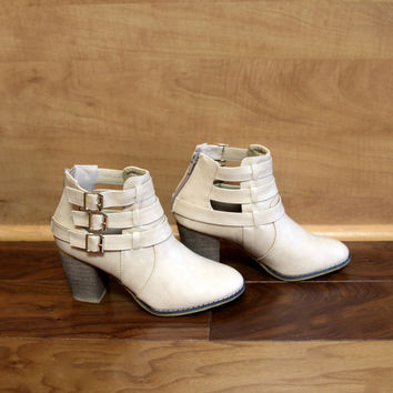 """Cage"" Leather Triple Buckle Stacked Heel Booties - Nude – H.C.B."