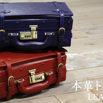 Strapya World : Handmade Leaves Classic Leather Trunk 12 inches (Red)