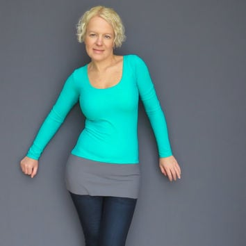 Teal green tunic top scoop neck tee shirt extra long sweater #tealgreen #tunic #scoopneck #top #shirt