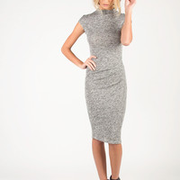 Mock Neck Knitted Midi Dress - Large - Heather Gray /