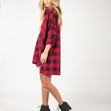 Oversized Checkered Shirt Dress - Red - Red /