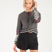 Sparkly Sleeve Sporty Sweater - Gray/Burgundy /