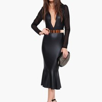 Who IS That Girl? Long Sleeve Faux Leather Midi Bodycon Dress