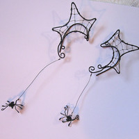 Halloween Spider Web Ear Cuffs, Ear Wraps, with Removable Dangling Spiders Renaissance, Elven, Hobbit, Elf, Fantasy Ear Wraps,