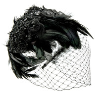 Feathered Crochet Veil Headband