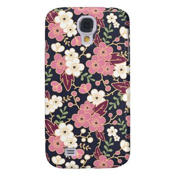 Pink Modern Spring Flower Pattern Galaxy S4 Case