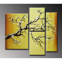 Hand-painted &#x27;Plum Blossom&#x27; Oil on Canvas 4-piece Art Set | Overstock.com