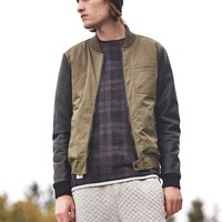 Native Youth Faux Leather Sleeve Bomber Jacket - Urban Outfitters