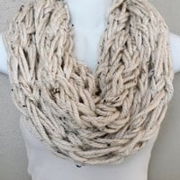 Beige with Brown Specs Arm Knitted Infinity Scarf Neutral Tones Knitted Scarf Womens Arm Knitted Fall Scarves Girls Knitted Scarf