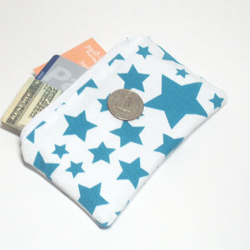 Teal Change Purse - Turquoise Stars - Stars Change Purse - Teal Stars Bag - Small Change Purse - Zipper Coin Purse - Star Party Gift Bag