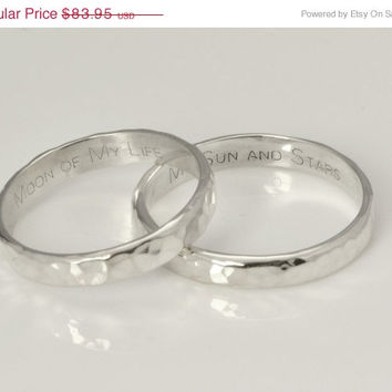 Fall Sale Hammered Silver Band Set - Wedding Ring Set - Engraved Ring Band - Personalized Ring - Engraved Jewelry - Personalized Jewelry