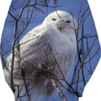 Snowy Wite Owl, Arctic Bird against Blue Sky created by DianeClancy   Print All Over Me