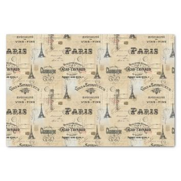 Paris Label Collage French Postcards Tissue Paper