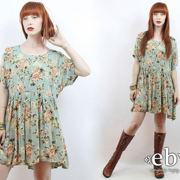 Vintage 90s Green Floral Babydoll Dress L XL 1X 90s Grunge Dress 90s Floral Dress Floral Mini Dress Plus Size Dress Plus Size Vintage