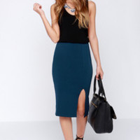 Keynote Speaker Navy Blue Bodycon Midi Skirt