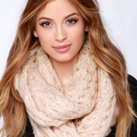 Be a Doll Peach Knit Infinity Scarf