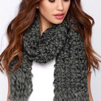 Cloud Covering Grey Knit Scarf