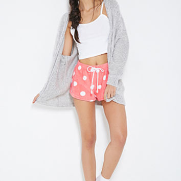 FOREVER 21 Plush Polka Dot PJ Shorts Coral/Cream