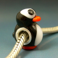 Perplexed Penguin Handmade Lampwork Glass Universal BHB European Charm Big Hole Bead sra Gelly