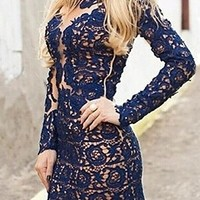Navy Blue Semi Sheer Floral Lace Long Sleeve Body Con Fitted Mini Dress