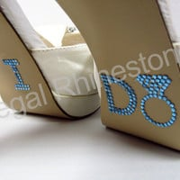 I Do Shoe Stickers - BLUE DIAMOND RING I Do Wedding Shoe Stickers - I Do Shoe Appliques - Rhinestone I Do Shoe Decals for your Bridal Shoes