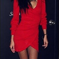 Bright Red Deep V Long Sleeve Bodycon Fitted Wrap Tulip Mini Dress