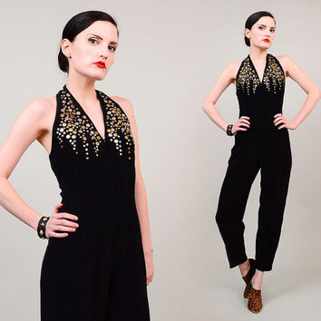 80s 90s Black Halter Jumpsuit Studded Backless Open Back Disco Stretchy Pantsuit 1980s Bodycon Jumper Small Medium S M