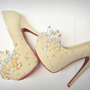 Fairy Tale Ivory &amp; Crystal Heels Size 6 Through 10